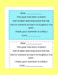 Give your kids a beach ball on the last day of school.  Cute poem to go with it!