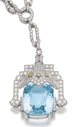 AQUAMARINE AND DIAMOND SAUTOIR, MARZO, CIRCA 1930.  the sautoir suspending a mixed-cut aquamarine from a surmount and chain set with brilliant-cut diamonds, the surmount with three brilliant-cut diamonds of yellowish tint, length approximately 595mm.