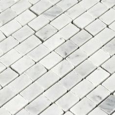 Bianco Carrara Brick Mosaic Marble Tile - Floor and Decor $14.99
