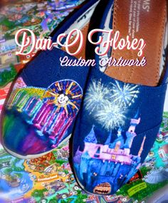 Disneyland Sleeping Beauty Castle and world of color Custom Painted TOMS www.danoflorez.storenvy.com #disneyland #toms #shoes #worldofcolor