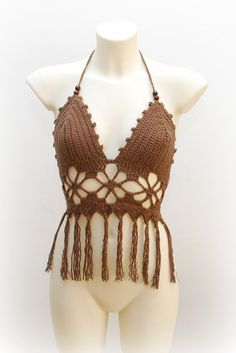 Modern stylish top tender brown halter top by SexyCrochetByOlga, €24.20