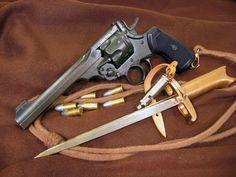 webley revolver and bayonet