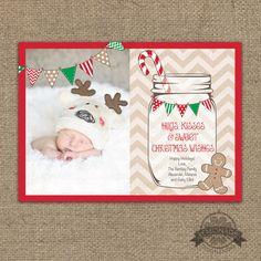 Christmas Card - Photo Christmas Card Mason Jar, Buntings, Chevron, Candy Cane & Ginger Bread... Hugs Kisses Christmas Wishes Card