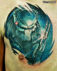 Alien Tattoo on Men Chest