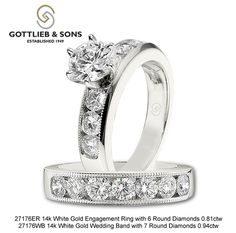 This timeless design will look stunning today and 40 years away! Only available at your Gottlieb & Sons authorized Jeweler! Diamond Wedding Sets, Wedding Bands, Bridal Sets, Looking Stunning, Modern Classic, Timeless Design, Her Style, Round Diamonds, Bridal Jewelry