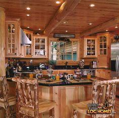 Golden Eagle Log Homes: Log Home / Cabin Pictures, Photos, Pics . Log Cabin Living, Log Cabin Homes, Log Cabins, Rustic Cabins, Barn Homes, Cozy Living, Log Home Kitchens, Rustic Kitchens, Kitchen Rustic