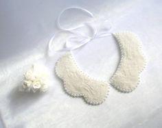 Handmade white colored pearl peter pan collar collar by NurayAytac
