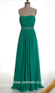 Long Bridesmaid Dresses Strapless A-line Beaded Long Chiffon Prom Dress VPW440