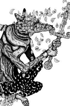#art #artwork #illustration #king #fox #animal #leaves #sword #art #artwork #illustration