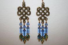 Blue Chandelier Earrings made with Antique by ClassyKittyJewelry
