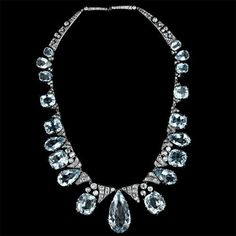 Victorian Aquamarine Diamond Silver Gold Necklace | From a unique collection of vintage more necklaces at https://www.1stdibs.com/jewelry/necklaces/more-necklaces/