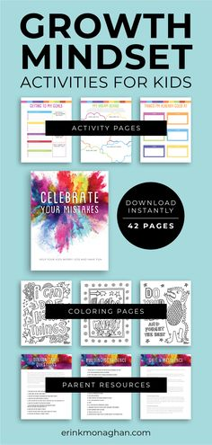 If your child is struggling with anxiety, stress, people-pleasing and perfectionism, this is for you. 'Celebrate Your Mistakes' is an activity book full of resources for you and fun coloring pages and exercises for your children that will help them understand why mistakes and messes are FUN. The guide helps you implement the concept of growth mindset, showing you exactly what to do and why it works.