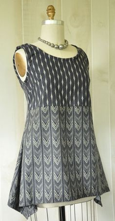 The Alice tank in Parson Gray Empire flannel from the Magic Pattern book, Amy Barickman