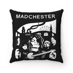Spun Polyester Square Pillow Manchester Band Icons Dispatched   Etsy Cushions For Sale, Work Friends, Boy Art, Art Studios, Shirt Shop, Fashion Prints, Spinning, Rock And Roll, Things To Come