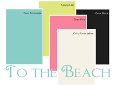 A modern beach-themed color palette: True Turquoise, Spring Leaf, Sexy Pink, Crisp Linen White, Onyx Black. Via @Diane Henkler {InMyOwnStyle.com}