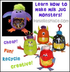 Learn how to make milk jug monsters for Halloween from www.daniellesplace.com.  If you use this craft and publish the image, please state that it comes from Danielle's Place.