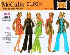 McCall's 2126 Misses and Junior Coat Dress, Slip Dress, Tunic and Pants Vintage Sewing Pattern McCall's Coat Dress, Dress Pants, Faces Band, Vintage Sewing Patterns, Mccalls Sewing Patterns, Pattern Illustration, Long Pants, Mini, Collection