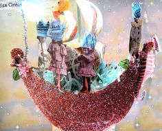 """Close up view of the """"Fairytale Boat Follies"""" class creations at Tinsel…"""