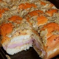 Hawaiian Baked Ham And Swiss Sandwiches Recipe, it's what is for snacking for the brother's Harbaugh superbowl