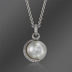 Mikimoto 11mm South Sea Pearl and .18 ct. t.w. Pave Diamond Pendant Necklace in 18kt White Gold. 18""