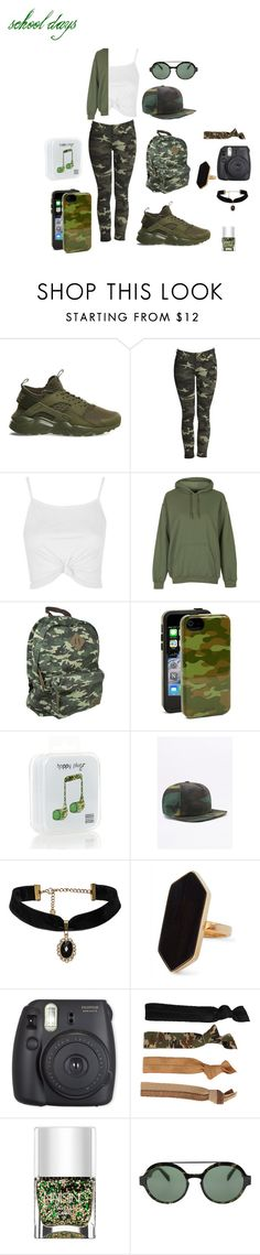 """""""Camo School days"""" by noelani-143 on Polyvore featuring NIKE, Topshop, Dickies, Sonix, Happy Plugs, Urban Renewal, Jaeger, Glam Bands, Nails Inc. and Italia Independent"""