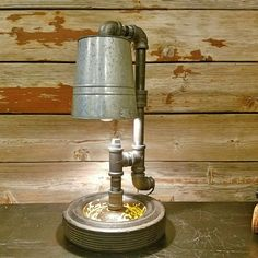 Newly Created Industrial Pipe Lamp w/ Vintage Wagon Wheel!