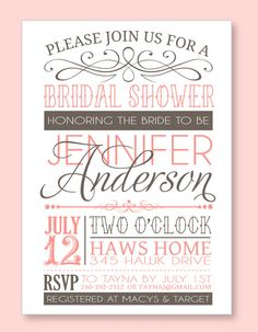 Bridal Shower Party PRINTABLE PDF Invitation from Love The Day. $18,00, via Etsy.