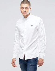 Fred Perry   Fred Perry Oxford Shirt With Logo In White In Slim Fit
