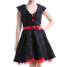 Vestido Pin Up Rojo y Negro | Crazyinlove España