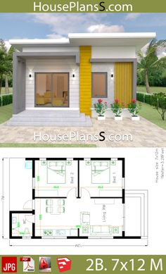 Small House Design Plans with 2 Bedrooms Full Plans – House Plans Sam – House Small House Layout, Small Modern House Plans, Modern Small House Design, House Layout Plans, Simple House Design, House Plans One Story, House Layouts, House Floor Plans, Story House