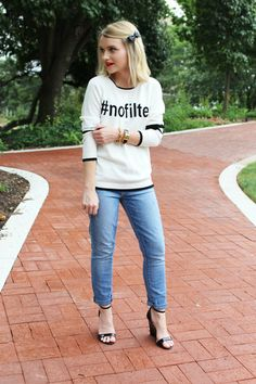 Poor Little It Girl in 525 America Sweater, Paige Denim Jeans, Stella & Dot Bracelets and LuLu*s Black Wedges Girl Outfits, Cute Outfits, Fashion Outfits, Womens Fashion, Casual Fashion 2014, Stella And Dot Bracelet, Paige Denim Jeans, Skinny Ankle Jeans, Fit S