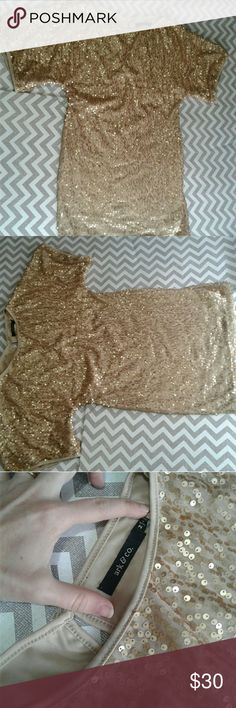Gold sequin cocktail dress Has belt loops but no belt Measurements are approximate and taken while item was laying flat  Chest 18 Length 31 Sleeve 12 Ark & Co Dresses
