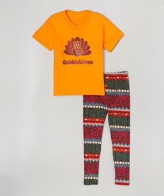 This Orange 'Gobbleicious' Tee & Leggings - Toddler & Girls is perfect! #zulilyfinds