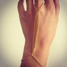 Gold hand chain, gold slave bracelet, hand chain, high fashion, boho, chain…