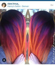 Perfect sunset hair - Diet - Fashion - Woman's And Vivid Hair Color, Gorgeous Hair Color, Cool Hair Color, Hair Lights, Onbre Hair, Flame Hair, Sunset Hair, Creative Hair Color, Multicolored Hair