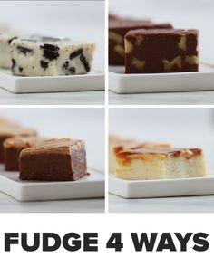 3 ingredient fudge 4 ways Layer Cake Recipes, Fudge Recipes, Candy Recipes, Dessert Recipes, No Bake Desserts, Easy Desserts, Delicious Desserts, Yummy Food, Tasty