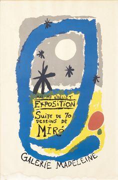 Joan Miro poster: Mai au juillet Exposition Suite de 70 Dessins de Miro - Galerie Madeleine 1960 ca.