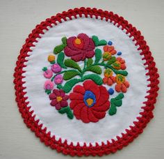 Embroidered Matyo Doily from Hungary - SO pretty! Hungarian Embroidery, Irish Crochet, Fishnet, I Am Happy, Hungary, Doilies, White Cotton, Embroidery Patterns, Folk Art
