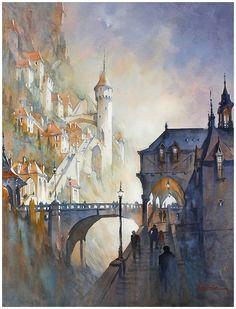 dreams of the dordogne  thomas w schaller - watercolor  30x22 inches