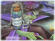 Sleeping Potion Necklace with Spinning Wheel Charm, Sleeping Beauty, Evil Fairy Maleficent, Good Fairy Merryweather, True Love Conquers All Bottle Jewelry, Bottle Charms, Jar Crafts, Diy And Crafts, Resin Crafts, Maleficent Party, Evil Fairy, Magic Bottles, Miniature Bottles