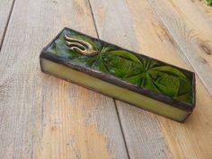 Mezuzah case Green Color Handmade Jewish Home Gitf Stained