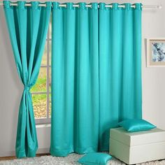 Swayam Aqua Blue Solid Blackout Eyelet Long Door Curtain