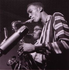 Clifford Jordan and John Gilmore during their Blowing In From Chicago session, Hackensack NJ, March 3 1957 (photo by Francis Wolff)