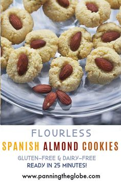 These Spanish flourless almond cookies are made mostly from ground almonds. Gluten free, dairy free, quick and easy recipe, and most importantly: DELICIOUS! #Healthy #Cookies #GlutenFree #DairyFree Best Gluten Free Recipes, Gluten Free Desserts, Dessert Recipes, Healthy Recipes, Creative Desserts, Ground Almonds, Almond Cookies, Healthy Cookies, Best Appetizers