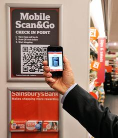 Trial of mobile scan & go technology at Sainsbury's.