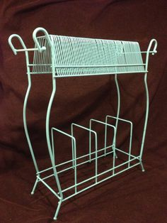 Rut Ro!  Turquoise Mid-Century Atomic Wire Record Rack--Album Rack by byRQ on Etsy
