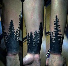 Mens Black Ink Wrist Forearm Tree Tattoos