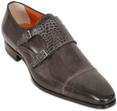 Santoni Leather & Crocodile Monk Strap Shoes in Gray for Men (DARK GREY)