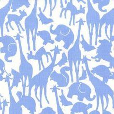 Tissu Flanelle Animal Silhouettes blue x 10cm