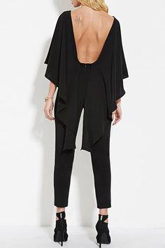 Backless Cape Sleeve Solid Color Jumpsuit